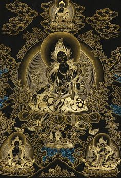 Find exquisite Tibetan Thangka Paintings and Art framed in Traditional Tibetan Silk Brocade and Veil that will mesmerize you only at Exotic India! Tibetan Mandala, Tibetan Art, Tibetan Buddhism, Buddha Kunst, Buddha Art, Tara Goddess, Vajrayana Buddhism, Thangka Painting, Green Tara