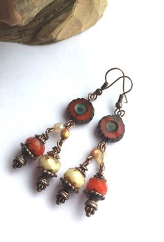 Red and cream red and copper copper earrings by HandmadeByKikiJ