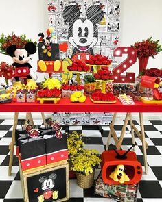 Mickey Mouse Birthday Party Dessert Table and Decor Mickey Party, Festa Mickey Baby, Minnie Mouse Birthday Theme, Mickey Mouse Party Decorations, Mickey First Birthday, Minnie Y Mickey Mouse, Fiesta Mickey Mouse, Second Birthday Ideas, Mickey Mouse Parties