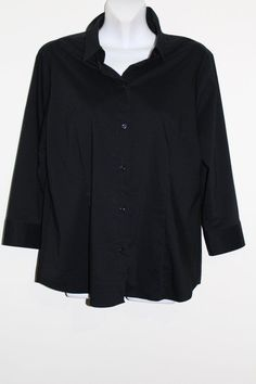 $16.95 Women's New York & Company Black Button Down 3/4 Sleeve Shirt Top Stretch XL #NewYorkCompany #ButtonDownShirt #Versatile #FreeShipping