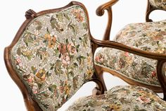"""Detail, Twin Chairs by Yukiko Nagai; instead of fabric upholstery, the """"cushions' are actually a mosaic made of rock, marble, and glass tiles"""