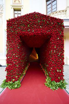 Oh, yes roses are red! Can you even imagine how many it took to create this jaw dropping arch by Jeff Leatham! Stage Decorations, Flower Decorations, Wedding Decorations, Red Wedding, Elegant Wedding, Wedding Flowers, Spring Wedding, Luxury Wedding, Wedding Stage
