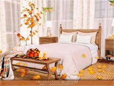 MychQQQ's Fallen Leaves - Bedroom Fallen Leaves, Autumn Leaves, Sims 4 Bedroom, Bedrooms, Coastal Bathrooms, Glass House, House 2, My Dream Home, Bedroom Stuff