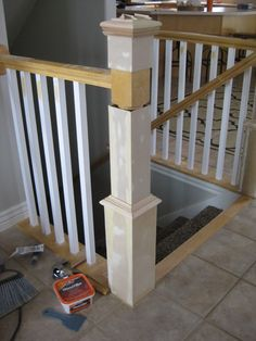 TDA decorating and design: DIY Stair Banister Tutorial - Part Building Around Existing Newel Post Diy Stair Railing, Staircase Railings, Banisters, Staircase Design, Staircase Ideas, Stairways, Banister Ideas, Replace Stair Railing, Stair Newel Post