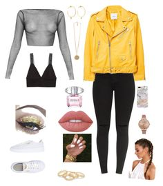 """Untitled #2"" by ragnhild-ovreboe on Polyvore featuring Monki, MANGO, Puma, Recover, Olivia Burton, Yvonne Léon, Givenchy, Lime Crime and Versace"