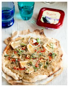Mediterranean Pizza with Sabra roasted eggplant spread, brie, mint and basil
