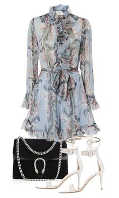 """""""Untitled #23689"""" by florencia95 ❤ liked on Polyvore featuring Gucci, Zimmermann, Gianvito Rossi and Letters By Zoe"""