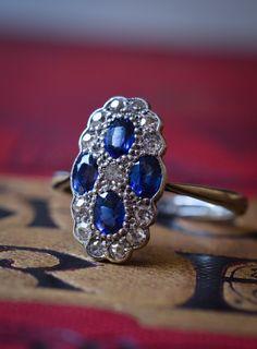 Art Deco Four Sapphire & Diamond Cluster Ring