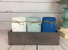 Mason Jar Centerpiece, Kitchen Utensil Holder, Reclaimed Box, Mason Jar  With Flowers,