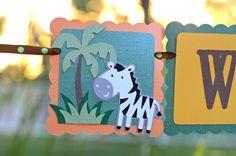 Jungle animals, Jungle animal banner, zebra, lion, monkey, giraffe, froggy, frog, gator, alligator, jungle centerpieces, jungle animals party ideas