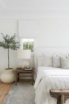 Slipcovered Headboard, Cream Headboard, Linen Headboard, Headboards, Interior Modern, White Interior Design, Natural Interior, Simple Interior, Natural Home Decor