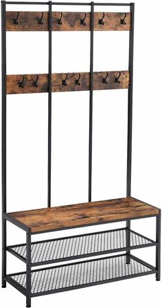 VASAGLE Industrial Coat Rack Shoe Bench, Hall Tree Entryway Storage Shelf, Large Size, Wood Look Accent Furniture with Metal Frame, Easy Assembly Entryway Storage, Entryway Furniture, Accent Furniture, Storage Shelves, Furniture Decor, Industrial Coat Rack, Rustic Coat Rack, Hat And Coat Stand, Coat Stands