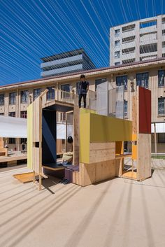 "Pop-up pavilions for kissing and ""dangerous play"" draw attention to rules of privately-owned public spaces - Nina Pavilion Architecture, Modern Architecture House, Landscape Architecture, French Practice, Japanese Shrine, Pocket Park, Wooden Screen, Wooden Decks, Architect Design"