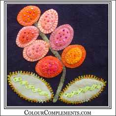 WOOL APPLIQUE using hand dyed embroidery threads from Colour Complements