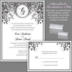 Black and White Wedding Invitations Monogram Wedding Invitations Art Deco Wedding Invitations Art Nouveau Wedding Invitations Sample. $2.50, via Etsy.