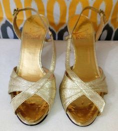 d0f9961bc7ce Dolce By Pierre Womens Slingback Gold Peep Toe Shoes Size M  fashion   clothing