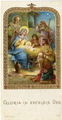 Shepherds at the nativity holy card :: Holy Cards Collection at the University of Dayton #shepherds #infantjesus #christmas #nativity