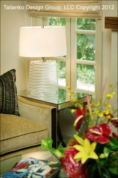 Talianko Design Group Living Room Detail  #TableLamp #MirrorSideTable #LivingRoom #Elegant #Casual #Sofa