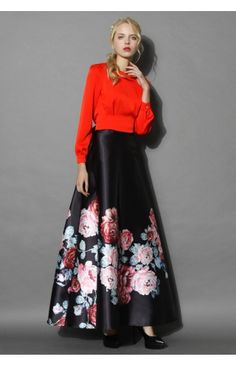 Endless Blooming Rose Maxi Skirt - Retro, Indie and Unique Fashion