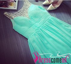 Teal Blue Evening Dress A Line With Silver Beads Straps Chiffon Simple Backless Prom Dresses For Teens Birthday Formal Gown.