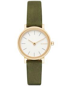 Skagen Women's Hald Green Leather Strap Watch 26mm SKW2495