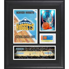 """Denver Nuggets Fanatics Authentic Framed 15"""" x 17"""" Team Logo Collage with Team-Used Basketball - Limited Edition of 250 - $79.99"""