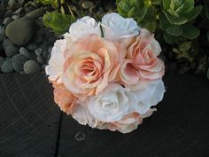 SILK Rose Bouquet Peach with white. by Keepsakebouquets on Etsy