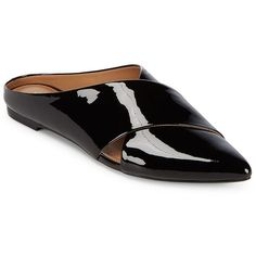 Calvin Klein Women's Gerda Patent Leather Mules (€95) ❤ liked on Polyvore featuring shoes, black, black shoes, black mule shoes, patent shoes, black patent leather shoes and slip on mule shoes