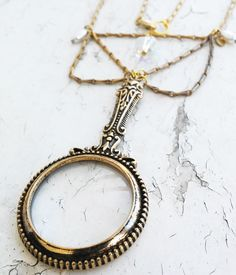 Victorian Looking Magnify Glass Hanging GlassCrystal Bead Gold Tone Jewelry Necklace by ObscuredOdditiess on Etsy
