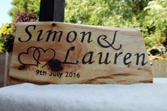 Rustic personalised wedding sign with bride and groom names and date engraved in to wood using woodburning technique (pyrography) by MadeByJoMo on Etsy