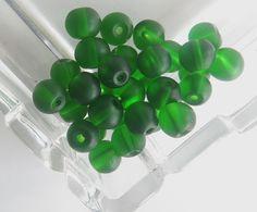 Perle - 20 Perle di vetro verde 6 mm - un prodotto unico di GIULI2 su DaWanda