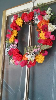 Felt flower spring wreath