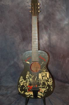 A 1942 Supertone made by Harmony Singing Cowboys Guitar with original case. What a great guitar. These Cowboy guitars were made by Harmony as evidenced by the Indento Harmony Wood Tailpiece, wood bridge, wood nut, and Waverly open back tuners.