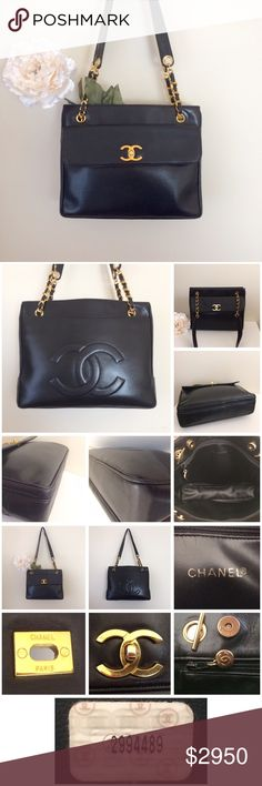 💝RARE💝 CHANEL CC Lambskin Leather Tote Purse Bag 💯% Authentic 💎RARE💎 Vintage CHANEL Lambskin Leather CC Logo with GOLD HARDWARE Tote Purse Handbag. EXCELLENT USED CONDITION for its age. Minor normal wear: scuffing, scratches, fading/discoloration, rubbing on leather & hardware. Vintage/storage scent. 💖LOTS OF COMPARTMENTS: 2 outside pockets, 2 large inside zippered pockets, 1 main inside compartment with magnetic closure.💖 CHANEL Bags Shoulder Bags