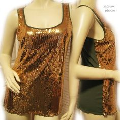 *SOLD* NEW Womens Metallic GOLD SEQUINS Olive Green Sleeveless Tank Clubwear Club TOP $1 sold .. we sell more WOMENS TOPS and DRESSES at http://www.TropicalFeel.com