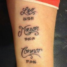 Image result for childrens name tattoos for moms