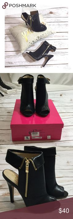 NIB Fierce Peep Toe Booties New in box, love these but too small and could not return! Fierce diva side zip peep toe booties size 6. Style is Beverly from Shake Collection. Man made materials 4.5 inch heels Shoes Ankle Boots & Booties