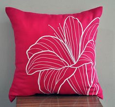 Pink Floral Decorative Pillow Cover Fuchsia Pink Linen by KainKain