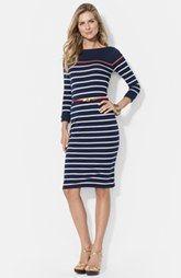 Lauren Ralph Lauren Stripe Boat Neck Cotton Dress