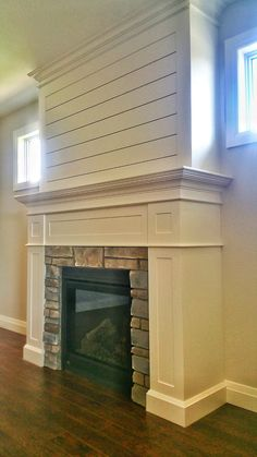 Custom millwork, shiplap, and cultured stone are the ingeidients in this delicious custom craftsman fireplace. ‪#‎bickellbuilt‬