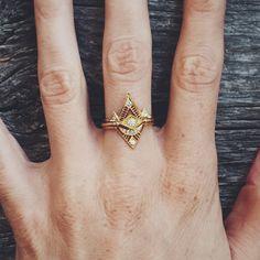 -- Petite Diamond Pyramid Stacking Rings from ARTIST DMD Metal Handmade in San Francisco CA DESCRIPTION petite gold and diamond stacking rings. Jewelry Box, Jewelery, Jewelry Accessories, Fine Jewelry, Diamond Stacking Rings, Diamond Are A Girls Best Friend, Gemstones, Earrings, Silver