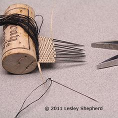 Learn Stick Weaving for Miniature Fabrics: How to Set Up Sewing Needles For Fine Scale Stick Weaving