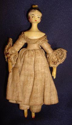 "Antique c1800 Queen Ann Wooden Peg Doll Hair Comb Orig Clothing 4 25"" Dollhouse | eBay"