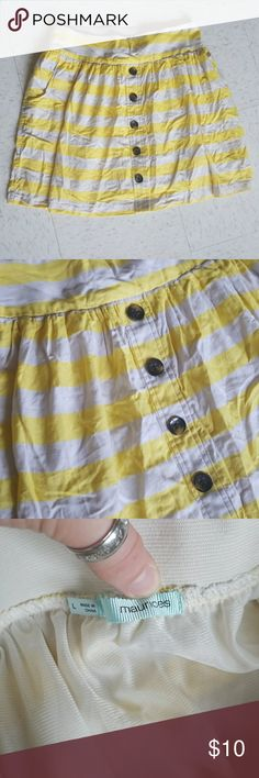 Pocket Skirt Yellow and Cream Brown Buttons Pocket Skirt Yellow and Cream Brown Buttons with a silky layer underneath! Super cute Maurices Skirts Midi
