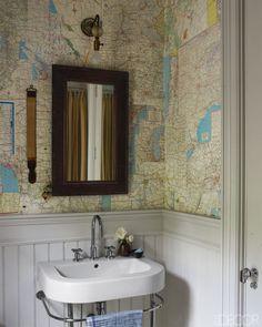 Maps as wallpaper in the bathroom!   Elle Decor