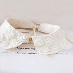 Swollen take a wild shape?  Sen female small fresh vintage false plain lace collar pearl necklace handmade lace collar sweater
