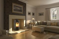Wood burner fireplace idea - dark chimney breast, wooden floor