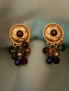 Liz Claiborne Jewel Tone Bead Dangle Matte Gold Tone Clip On Earrings by…
