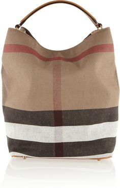 Leather-Trimmed Checked Canvas Hobo Bag Burberry Shoes & Accessories