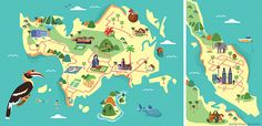 Illustrated maps for KLM Holland Herald magazine on Behance